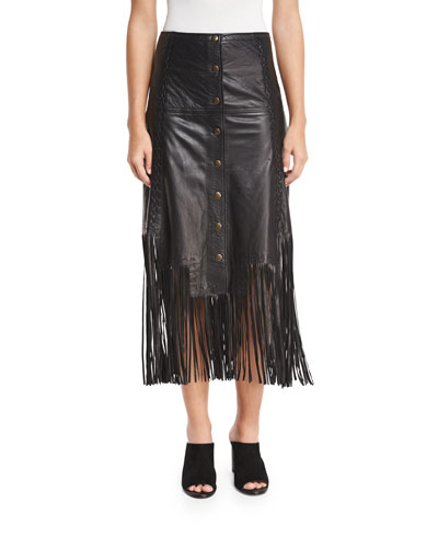 Leather Fringe Midi Skirt, Black