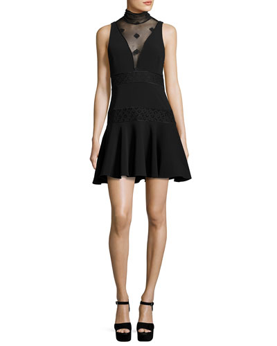 Concordia Sleeveless Fit & Flare Dress, Black
