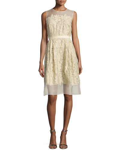 Sleeveless 3D Floral Cocktail Dress, Gold