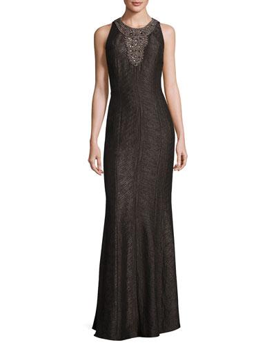 Sleeveless Embellished Jacquard Gown, Pewter