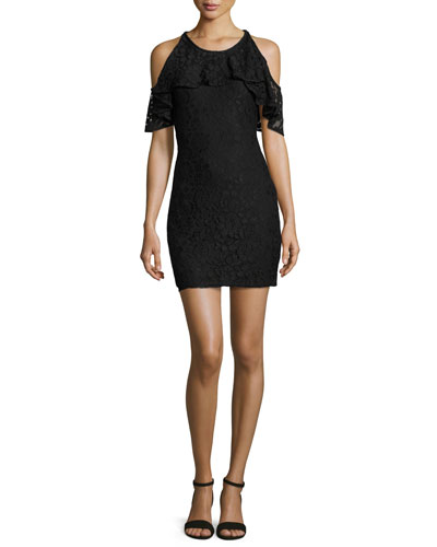 Cold-Shoulder Lace Mini Dress, Black
