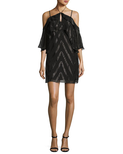 Dinah Double-Ruffle Cold-Shoulder Dress, Black