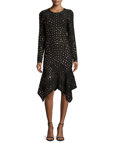 Long-Sleeve Grommet Handkerchief-Hem Dress, Black