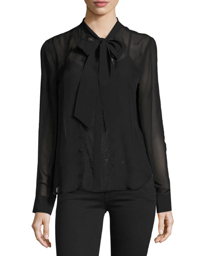 Leema Tie-Neck Blouse, Black