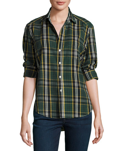 Eileen Plaid Button-Front Shirt, Green/Yellow