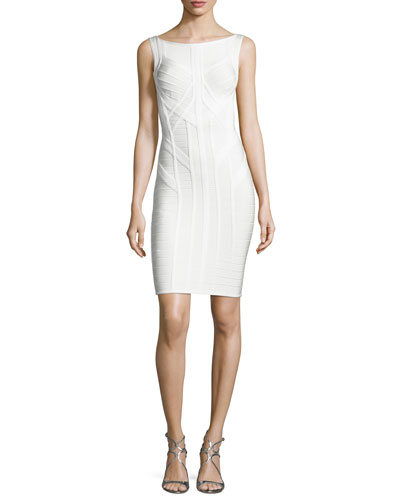 Classic Bandage Sleeveless Sheath Dress, White