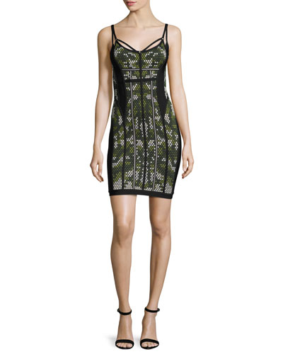 Camouflage Sleeveless Bandage Dress, Green