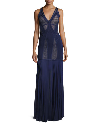 Sleeveless Mesh-Inset Bandage Gown, Classic Blue