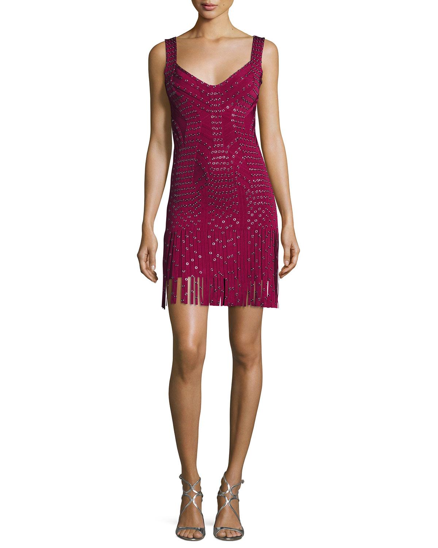 Sleeveless Grommet Fringe-Skirt Bandage Dress