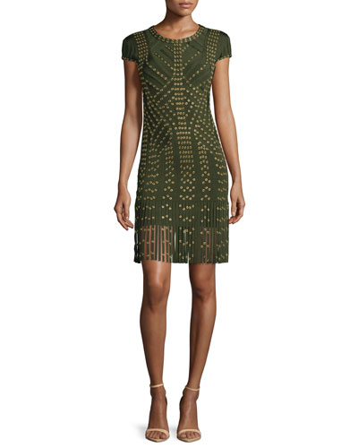Cap-Sleeve Grommet Fringe-Skirt Bandage Dress, Kale/Combo