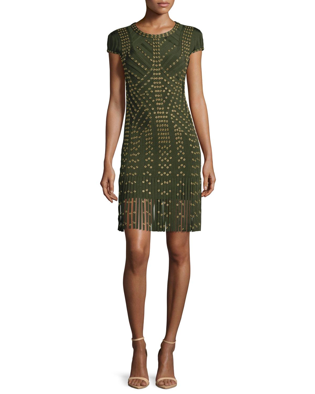 Cap-Sleeve Grommet Fringe-Skirt Bandage Dress, Kale/Combo