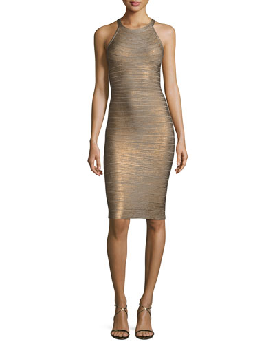 Sleeveless Metallic Halter Bandage Dress, Bronze/Combo