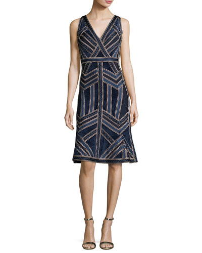 Sleeveless Deep-V Jacquard Flounce Dress, Indigo/Combo