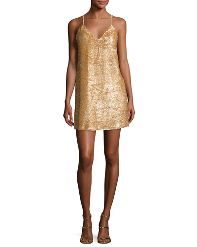 Sequined Cross-Back Slip Dress