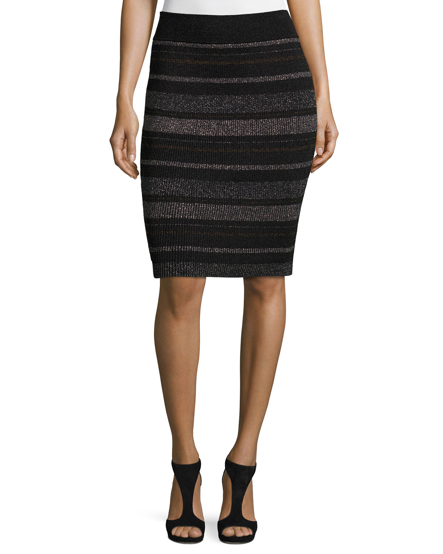 Metallic Striped Pencil Skirt