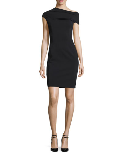 Cap-Sleeve Asymmetric Ponte Cocktail Dress, Black