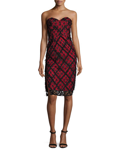 Alix Embroidered Strapless Sweetheart Dress, Black/Red