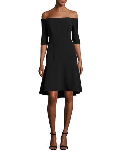 Nina Off-the-Shoulder Fishtail Dress, Black