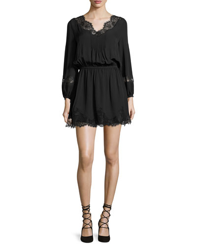 Branco Lace-Trim Silk Dress, Caviar