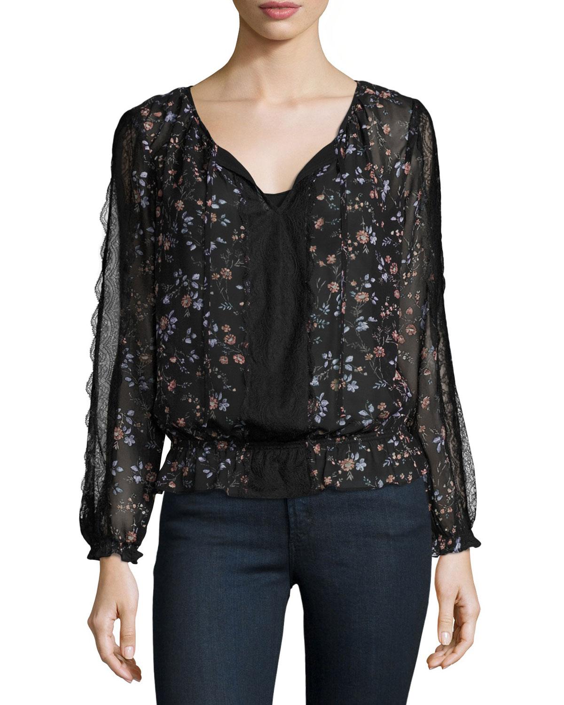 Grazia Floral-Print Silk Blouson Top, Caviar