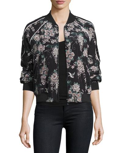 Mace Floral-Print Silk Bomber Jacket, Caviar