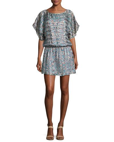 Sofinne Floral-Print Blouson Silk Minidress, Dusty Mink