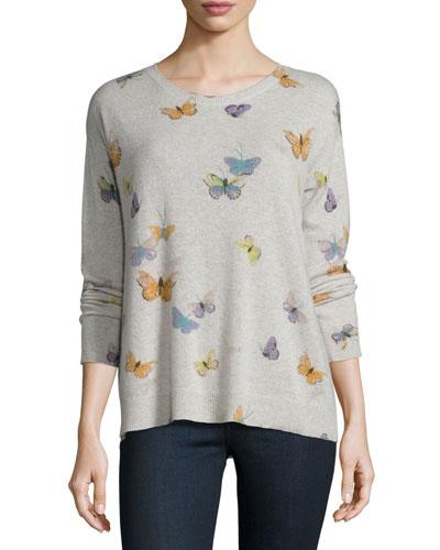 Eloisa Butterfly-Print Crewneck Cashmere Sweater, Heather Stonemist