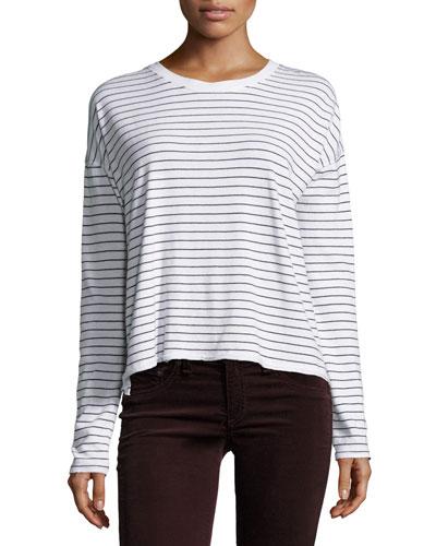 Vintage Stripe Long-Sleeve Tee, White/Black