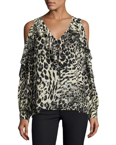 Roland Cold-Shoulder Ruffle Blouse, Lynx