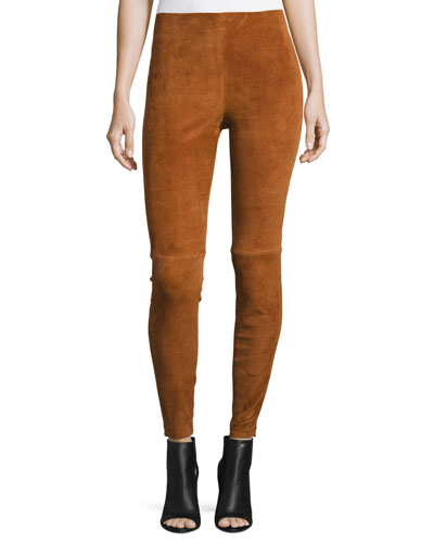 Navalane L Stretch-Suede Pants, Russet