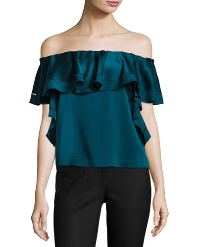Gaia Off-The-Shoulder Top, Dark Cobalt