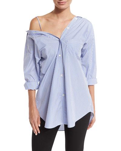 Tamalee Dalton Stripe Shirt, Blue/White