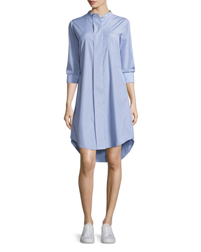 Jodalee Taff Striped Shirtdress, Blue/White