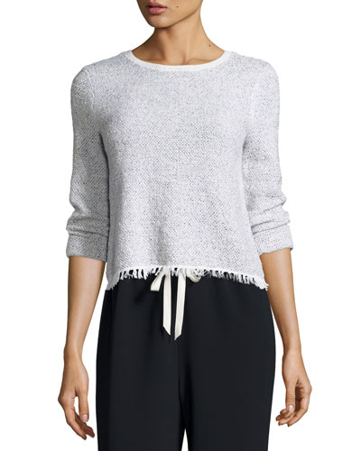 Vendla Tweed Fringe-Hem Sweater
