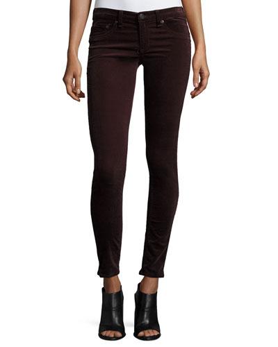 Velvet Skinny Jeans, Wine