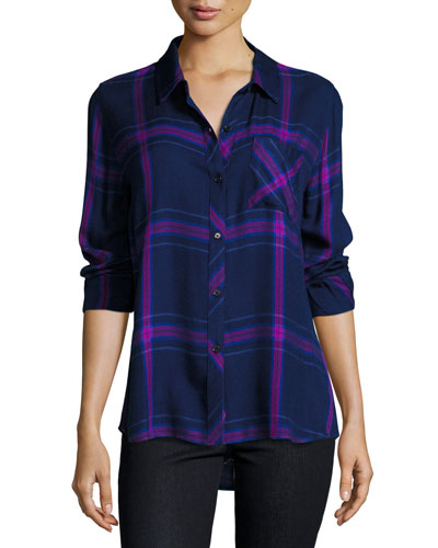 Hunter Plaid Shirt, Navy/Ultraviolet