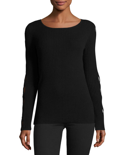Kimila Cutout-Sleeve Ribbed Sweater, Black