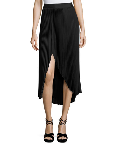Blair Plissé Slit Midi Skirt, Black