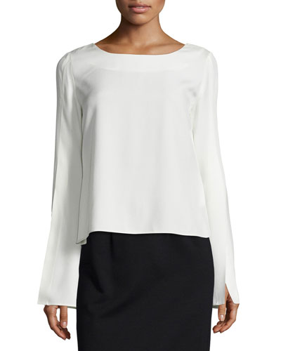 Paloma Crepe Bell-Sleeve Top, Soft White