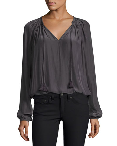 London Tassel-Tie Blouson Top, Gunmetal