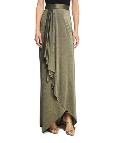 The Daylight Draped Metallic Maxi Skirt, Gold