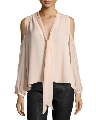 The Vida Silk Cold-Shoulder Blouse, Pale Pink