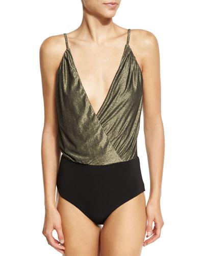 The Deep V Bodysuit, Gold