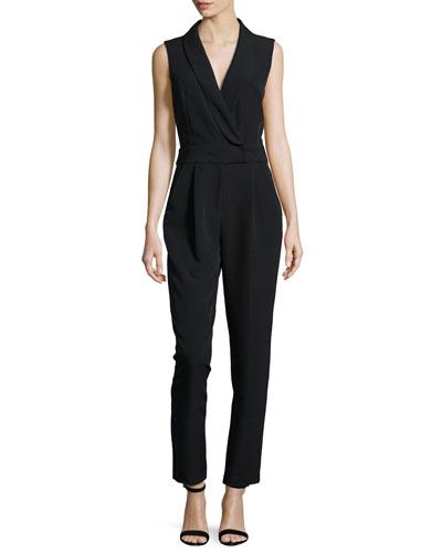 Sleeveless Tuxedo-Collar Jumpsuit, Black