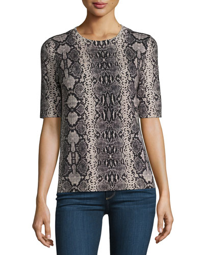 Snakeskin-Print Short-Sleeve Sweater, Pink Champagne