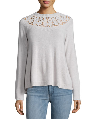 Crocheted-Yoke Knit Top, Chinchilla
