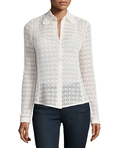Floral Eyelet-Lace Shirt, Chalk
