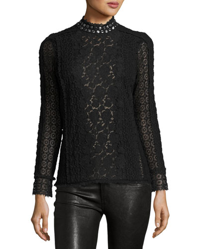 Embellished Lace Mock-Neck Top