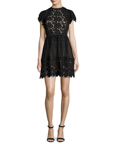 Cap-Sleeve Mixed-Lace Dress, Black