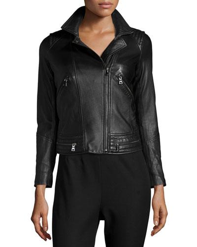 Leather Motorcycle Jacket, Black